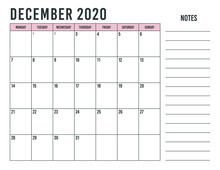 December 2020 Calendar Planner - Vector Illustration. Template