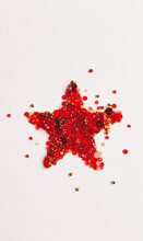 Holiday: Christmas Star Made From Beads And Buttons
