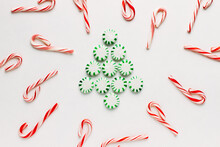 Peppermint Candies In Tree Design On White