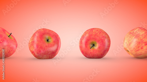Fotografie, Obraz Ripe red apples, endless movement. 3D rendering