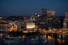 Pittsburgh Pennsylvania Downtown Skyline At Twilight