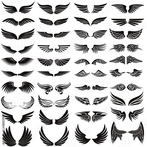 Obraz na płótnie Angel wings icon vector set