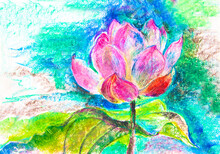 Pink Lotus. Drawing With Oil Crayons On White Paper. Picture, Framed Poster. Image For Banner Design, Wallpaper, Packaging, Holiday. Esotericism, India, Meditation, God, Shiva, Rama. Yoga And Spirit