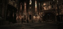 Steampunk Scene. Night In The Ancient City. Lanterns Illuminating Old Brick Buildings. Beautiful Night Cityscape. Photorealistic 3D Illustration.