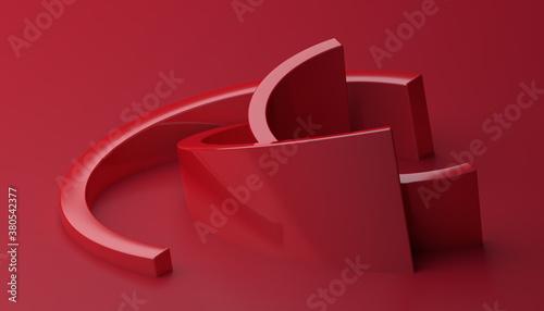 Abstract 3d render, red background design, modern illustration