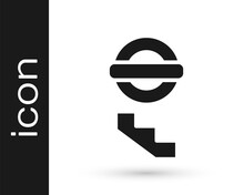 Black London Underground Icon Isolated On White Background. Vector.