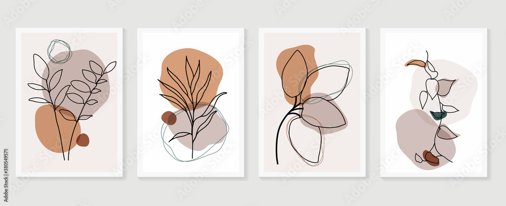 Fototapeta Botanical wall art vector set. boho Foliage line art drawing with  abstract shape.  Abstract Plant Art design for print, cover, wallpaper, Minimal and  natural wall art.