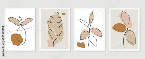 Fototapeta Botanical wall art vector set. boho Foliage line art drawing with  abstract shape.  Abstract Plant Art design for print, cover, wallpaper, Minimal and  natural wall art. obraz