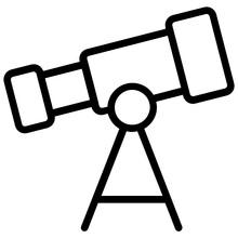 A Telescope Icon In Flat Design, Astrophysics Vector