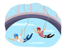 People Bungee Jumping, Extreme Sport Adventure. Men Flying On Rope From Bridge In Summer. Outdoor Risky Recreation Vector Illustration. Lifestyle In Nature And On Vacation