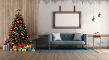 Retro Style Living Room With Christmas Tree And Gift