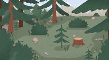 Natural Forest Landscape Vecto...