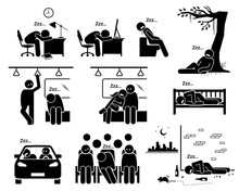 People Sleeping At Different Places Stick Figure Pictogram Icons. Vector Illustrations Of A Person Falling Asleep And Taking A Nap.