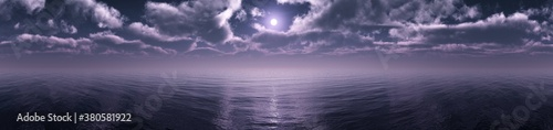 Lunar sea sunrise, the moon over the sea in the clouds, banner, 3d rendering