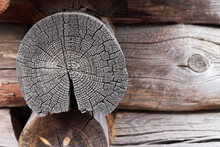 Old Log House Wall, Background...
