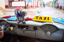 Interior Of Old Vintage American Classic Car, Havana, Cuba