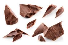 Broken Chocolate Pieces Isolat...
