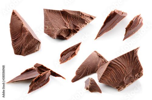 Broken chocolate pieces isolated Fototapet