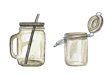 Two Empty Mason Jar Isolated O...