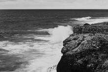 Atlantic Ocean Waves Hitting The Rocks Black And White