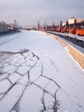 Moskva River With Ice Floes In...