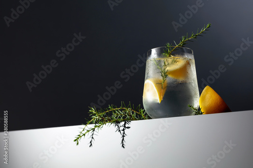Alcohol drink (gin tonic cocktail) with lemon, juniper branch, and ice on a dark reflective background.