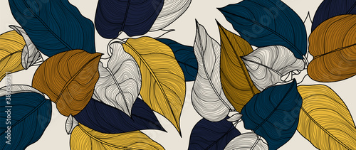 luxury gold floral line art wallpaper vector. Exotic botanical background, Tropical leaf and gold style for textiles, wall art, fabric, wedding invitation, cover design.