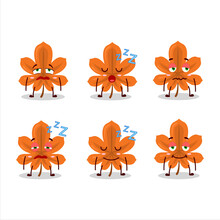 Cartoon Character Of Orange Dried Leaves With Sleepy Expression