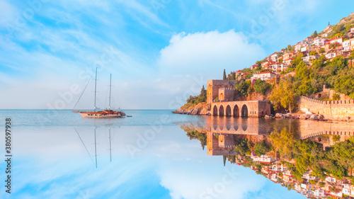 Fototapeta Ancient shipyard next to Red tower ( Kizil Kule) in Alanya peninsula - Antalya,