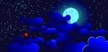 The Moon, Stars And Silhouettes Of Clouds.