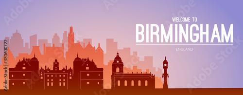 Birmingham, England famous city scape view.