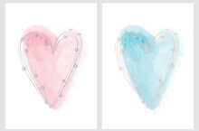 Simple Romantic Vector Illustation With Pastel Pink And Light Blue Hearts Isolated On A White Background. Sweet Valentine's Day Card. Infantile Style Hand Drawn Heart.