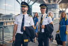 Cheerful Pilots And Stewardess...
