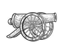 Vintage Cannon Weapon Sketch E...