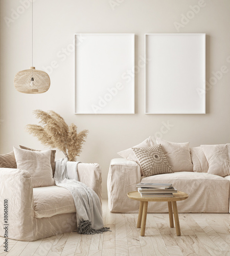 mock up poster frame in modern interior background, living room, Scandinavian style, 3D render, 3D illustration - 380616510