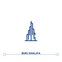 Burj Khalifa Outline Vector Icon. Simple Element Illustration. Burj Khalifa Outline Icon From Editable Monuments Concept. Can Be Used For Web And Mobile