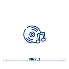 Vinyls Outline Vector Icon. Si...