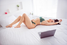Profile Photo Of Naughty Beautiful Lady Home Quarantine Online Laptop Chat Touch Herself Between Legs Masturbating On Camera Watch Porn Alone Wear Bikini Sitting White Linen Sheets Indoors