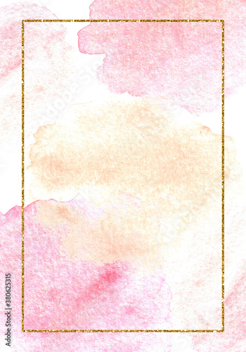 Obraz na plátně Background with watercolor pink and powdery spots and gold frame