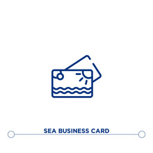 Sea Business Card Outline Vector Icon. Simple Element Illustration. Sea Business Card Outline Icon From Editable General Concept. Can Be Used For Web And Mobile