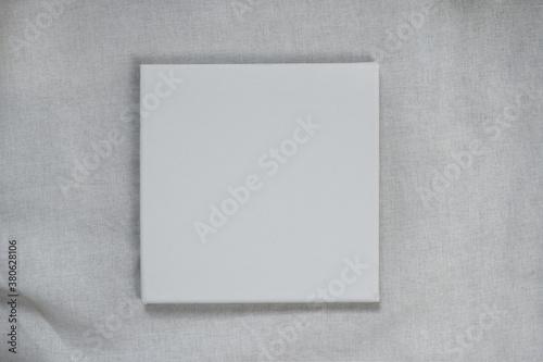 Fototapeta white rectangular canvas on fabric cotton texture background obraz