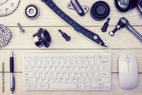 Obraz na plátně .Workspace of a car repair specialist. Online consultation. Car service blog. Or