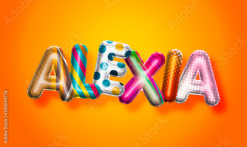 Alexia female name, colorful letter balloons background Wallpaper Mural