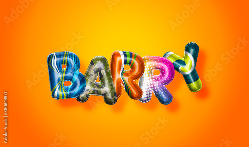 Papel de parede Barry male name, colorful letter balloons background