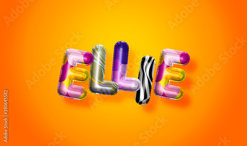 Ellie female name, colorful letter balloons background Canvas Print
