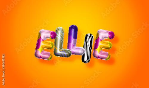Fotografía Ellie female name, colorful letter balloons background