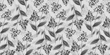 Botanical seamless pattern with vintage graphic bird cherry and leaves. Hand-drawn illustration. White and black design. Good for production wallpapers, cloth and fabric printing. - 380646173