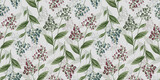 Botanic seamless pattern with vintage graphic bird cherry and leaves. Hand-drawn illustration. Good for production wallpapers, cloth and fabric printing. - 380646311