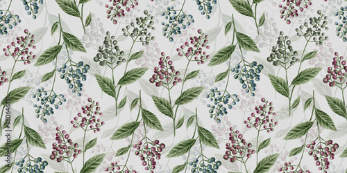 Botanic seamless pattern with vintage graphic bird cherry and leaves Fotobehang