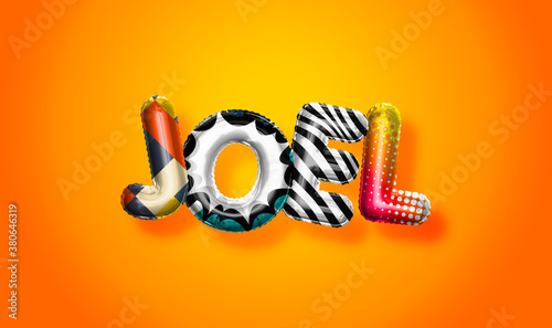 Cuadros en Lienzo Joel male name, colorful letter balloons background